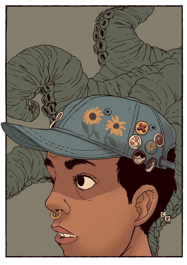 Nina kvinna bläckfiskarmar illustration