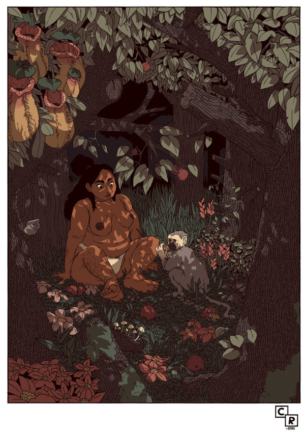 Passionfruit woman feminine jungle illustration